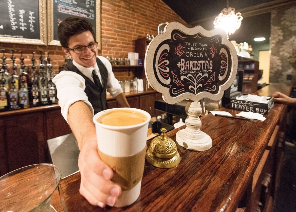 Friendly staff at Cafe' Rhema have contributed to Flint's coffee culture. Photo: Paul Engstrom