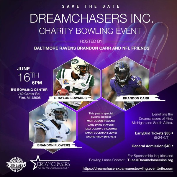 Baltimore Ravens player Brandon Carr to NFL friends to Flint for fundraiser