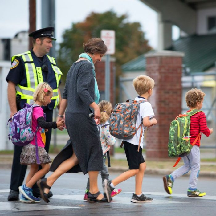 Students pick up the pace on Walk to School Day on Oct. 2